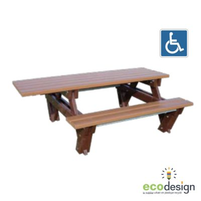 Table banc plastique recyclé accessible personne à mobilité réduite