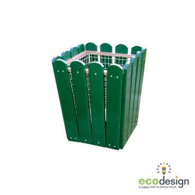Poubelle carrée plastique recyclé